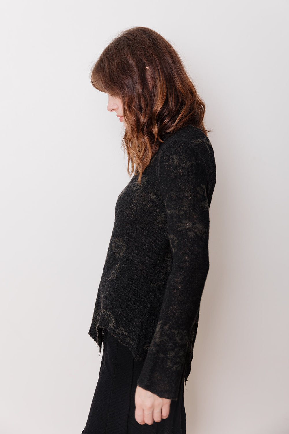 Knit Sweater with Asymmetrical Hem, Black Floral