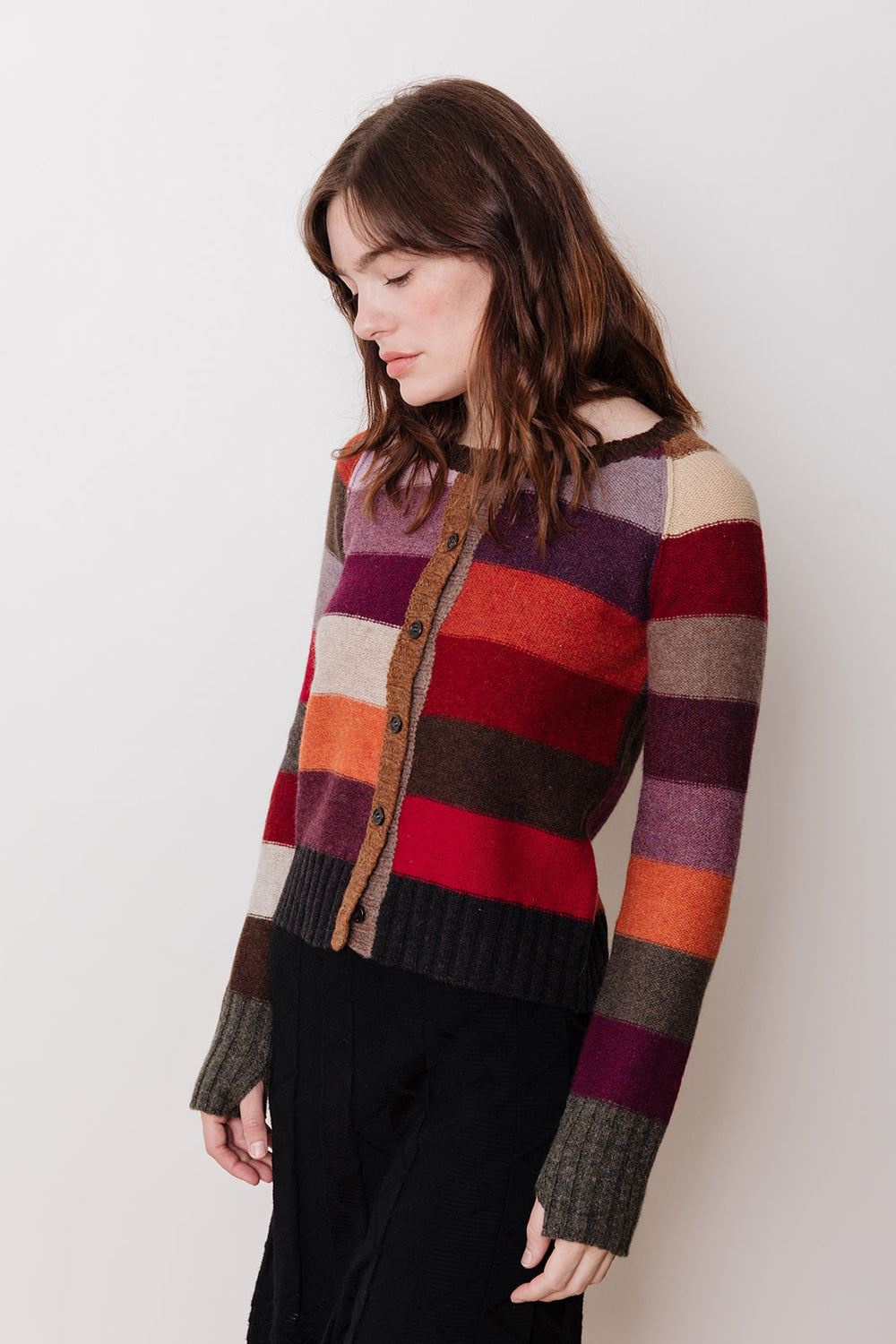 Striped Cardigan, Red