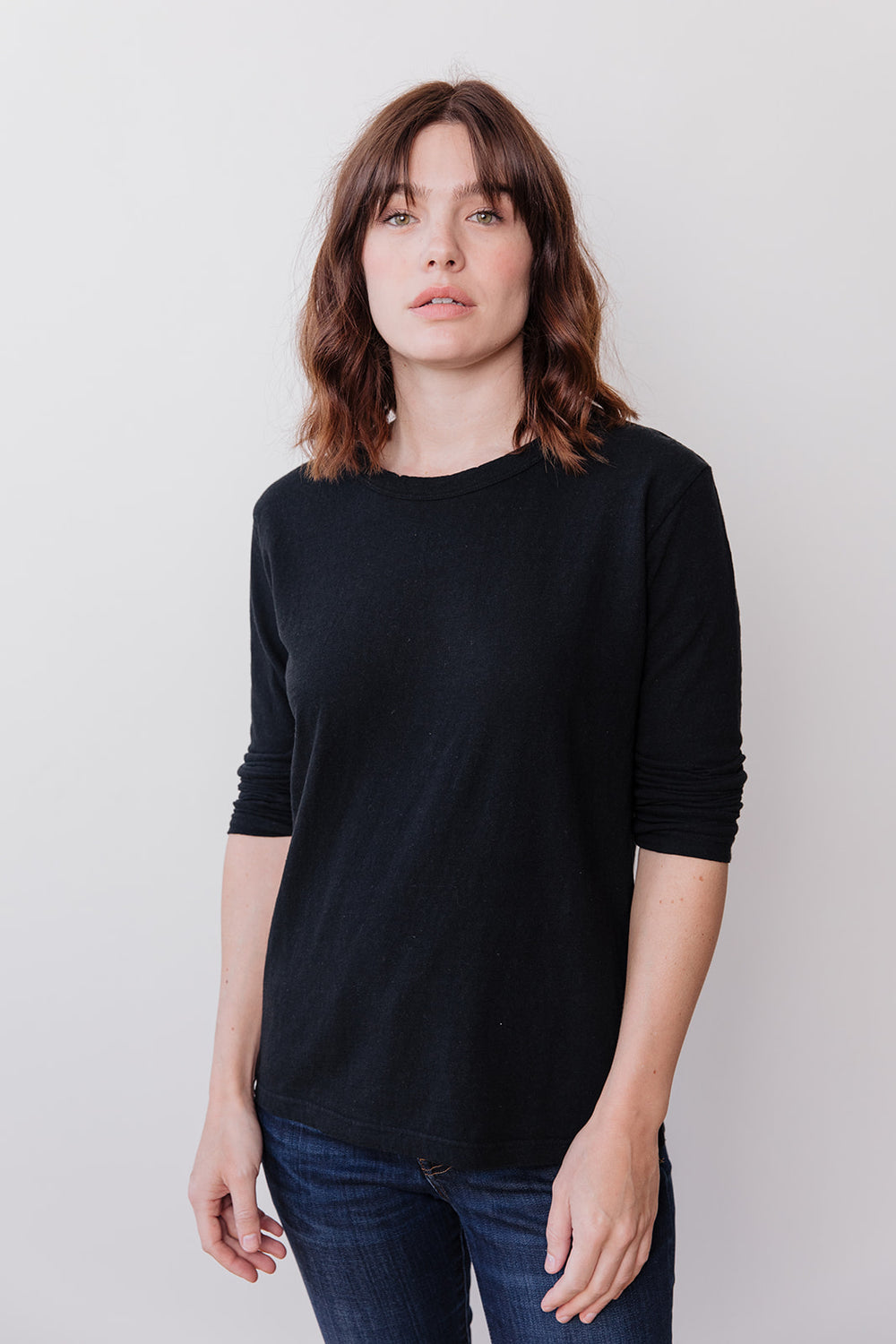 Long Sleeve Cotton T Shirt, Black