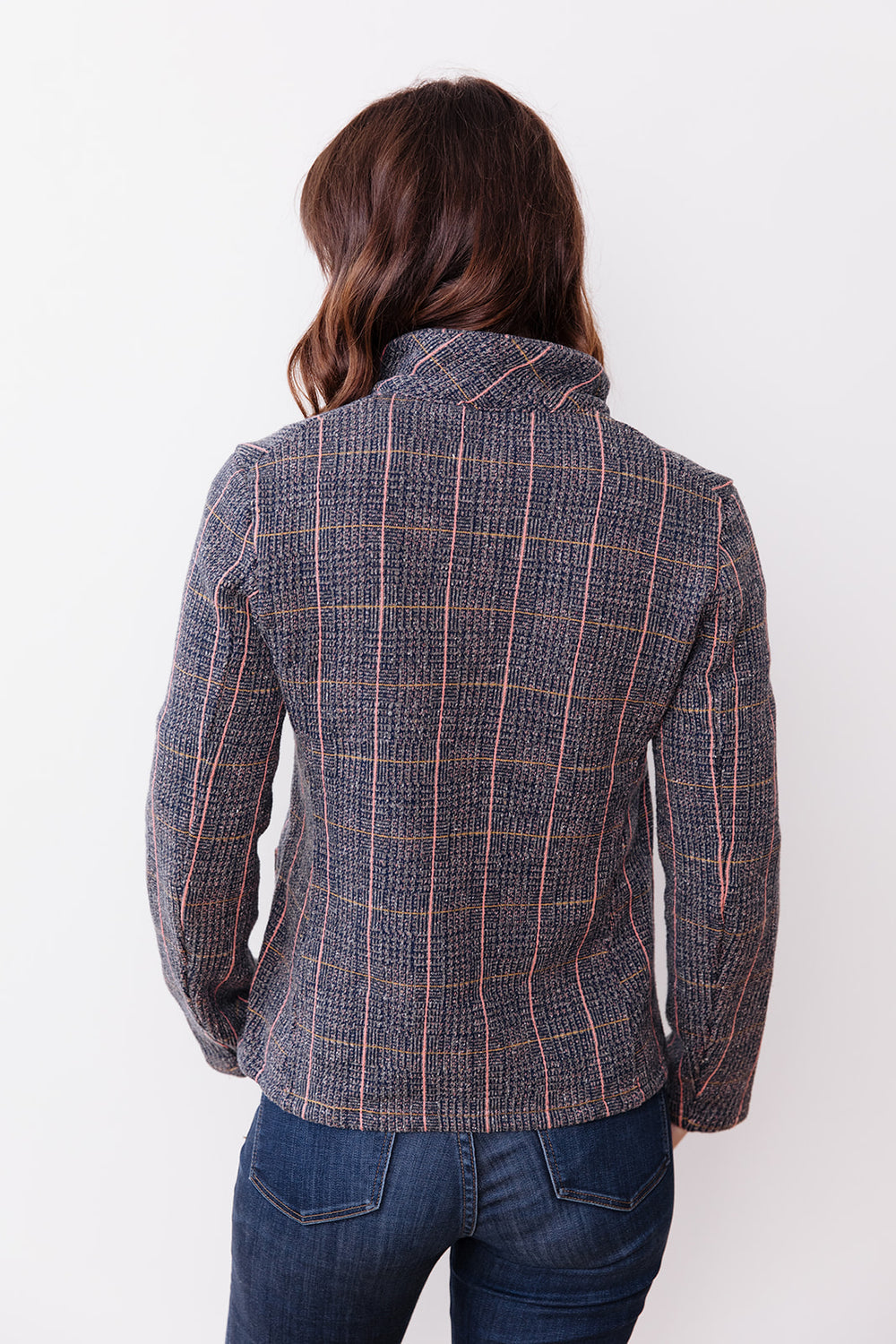 Tweed Fleecy Knit KOBE Jacket, Gray/Pink