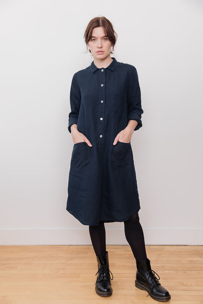 Linen Shirt Dress Dark Blue