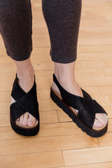 Black Platform Cross Sandal