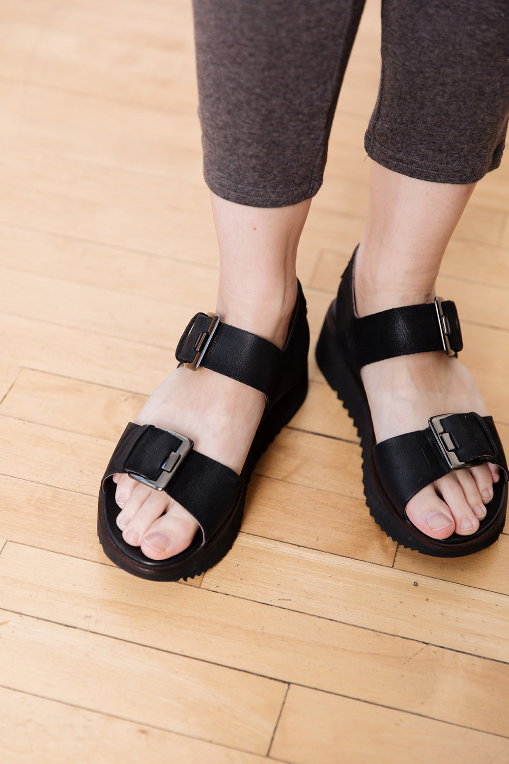 Black Wedge Sandal with Buckles
