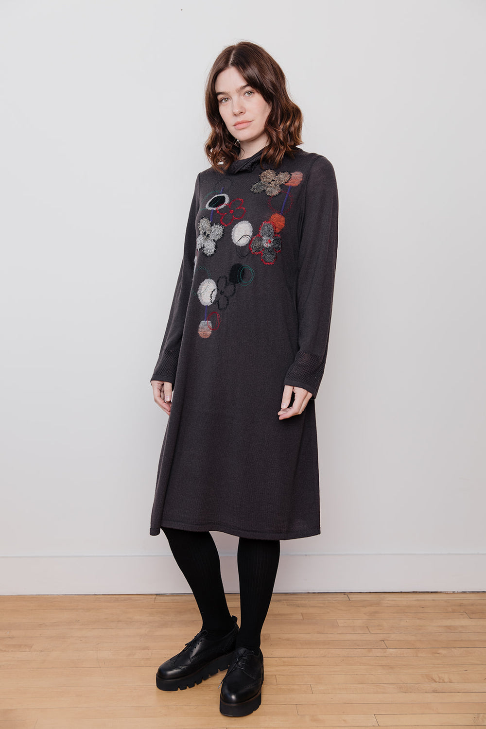 Dot Pattern Wool Dress with Cowl Neck