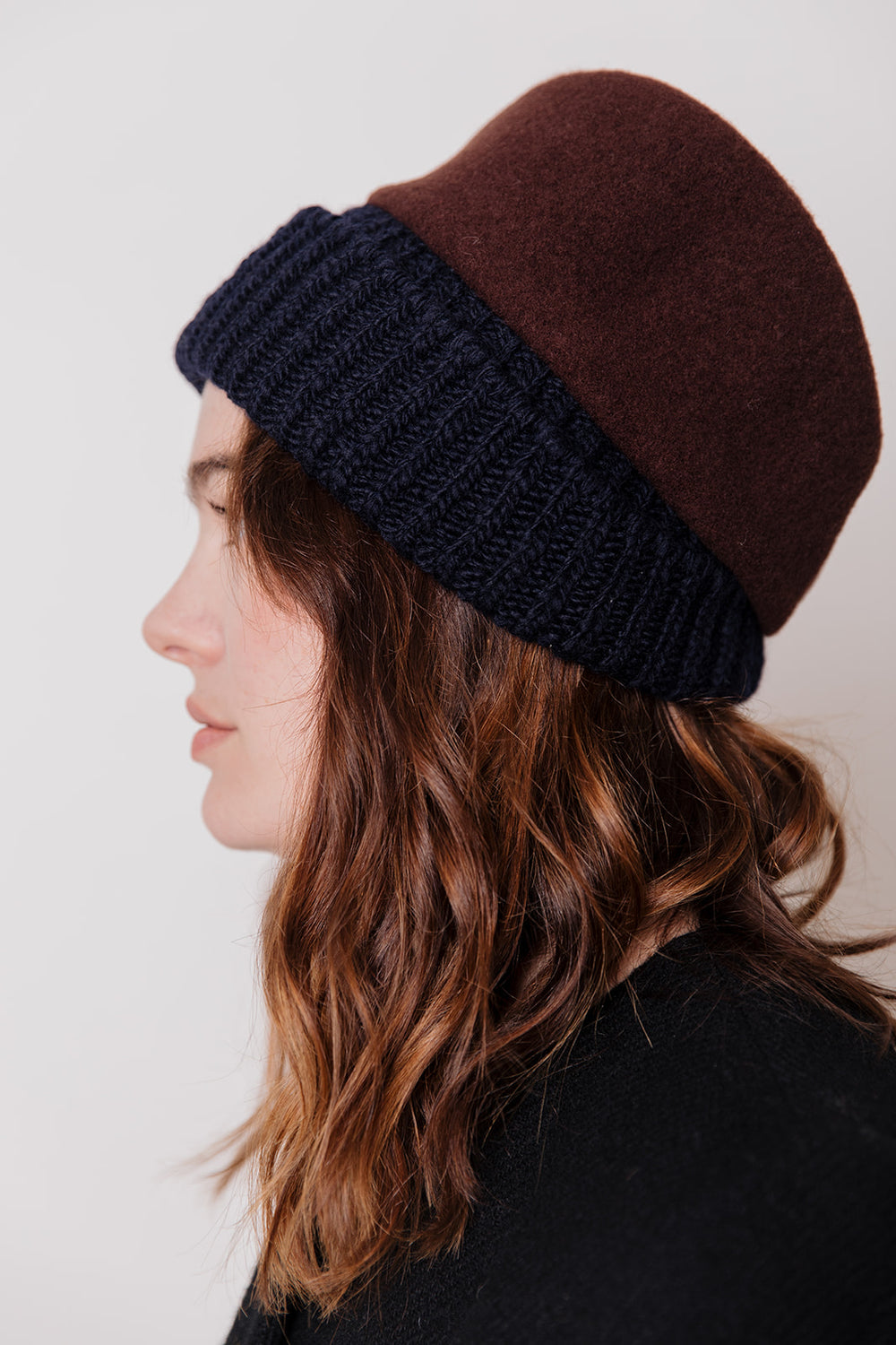 Haru Hat, Brown and Navy