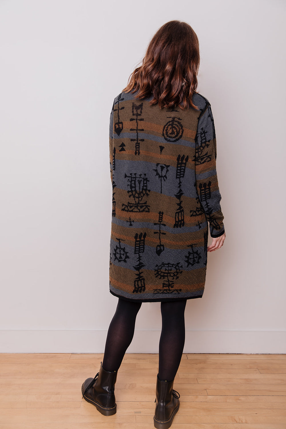 Reversible Jacquard Wool Dress, Black