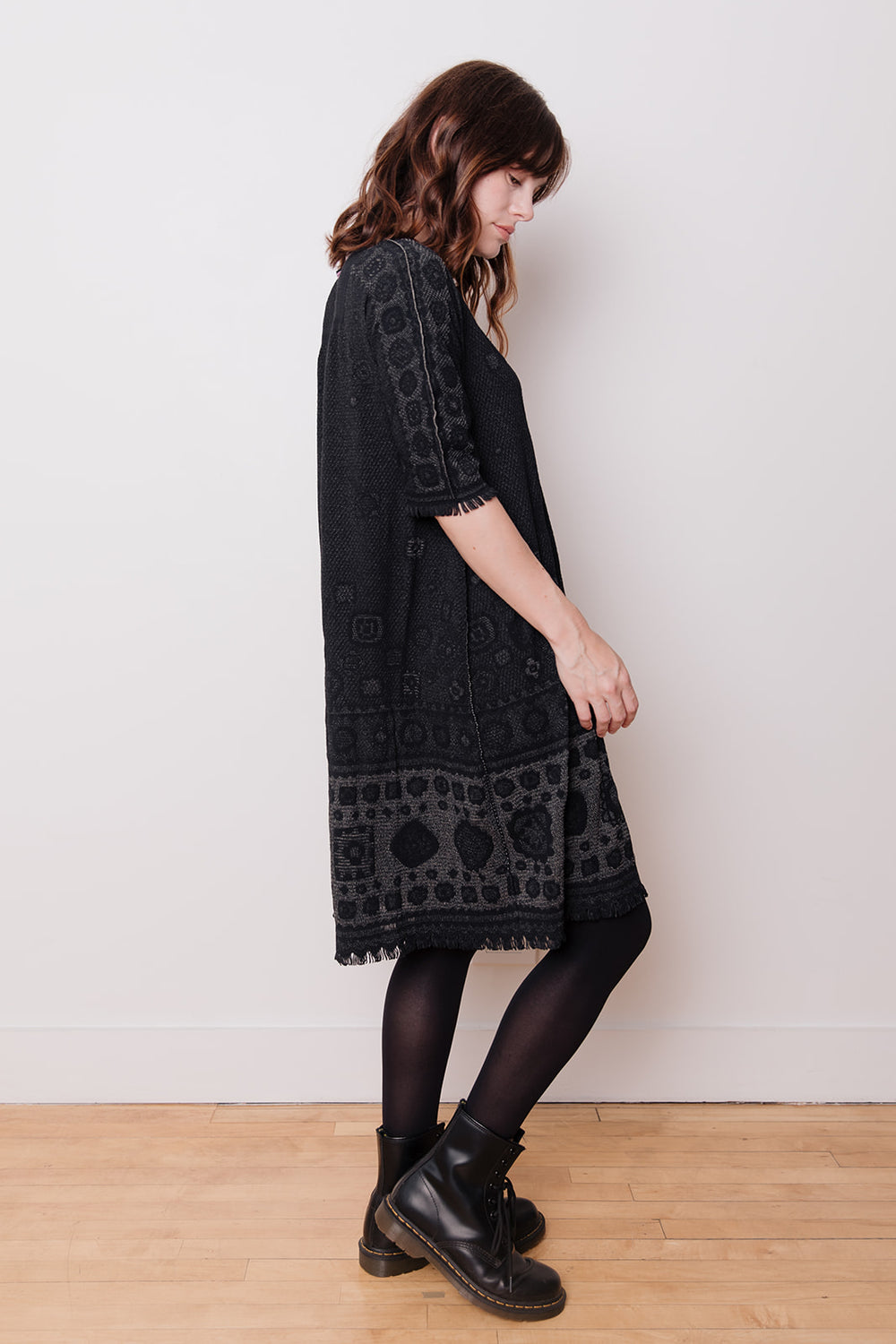Reversible Smock Dress with Fringe