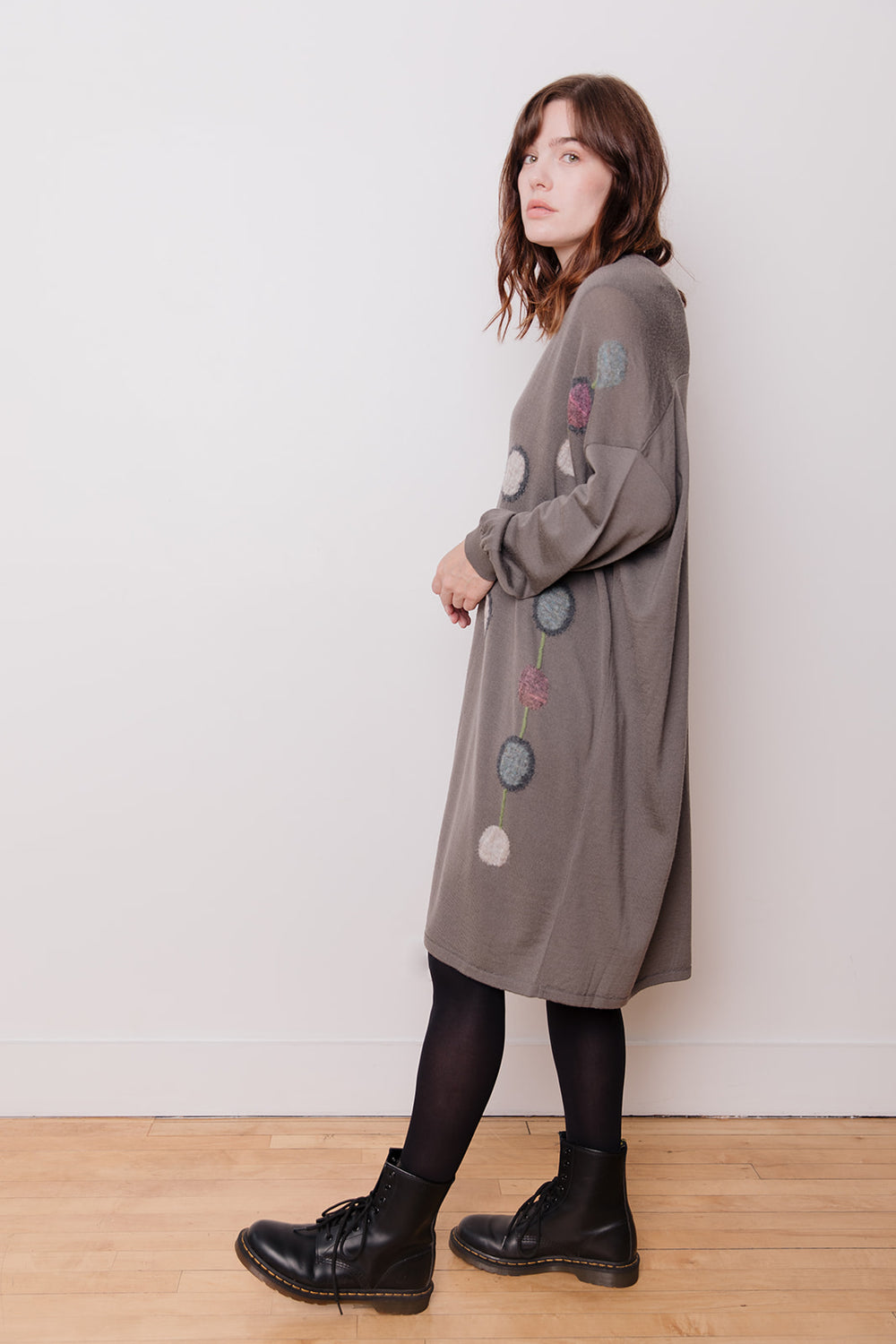Dot Pattern Long Wool Cardigan, Grey