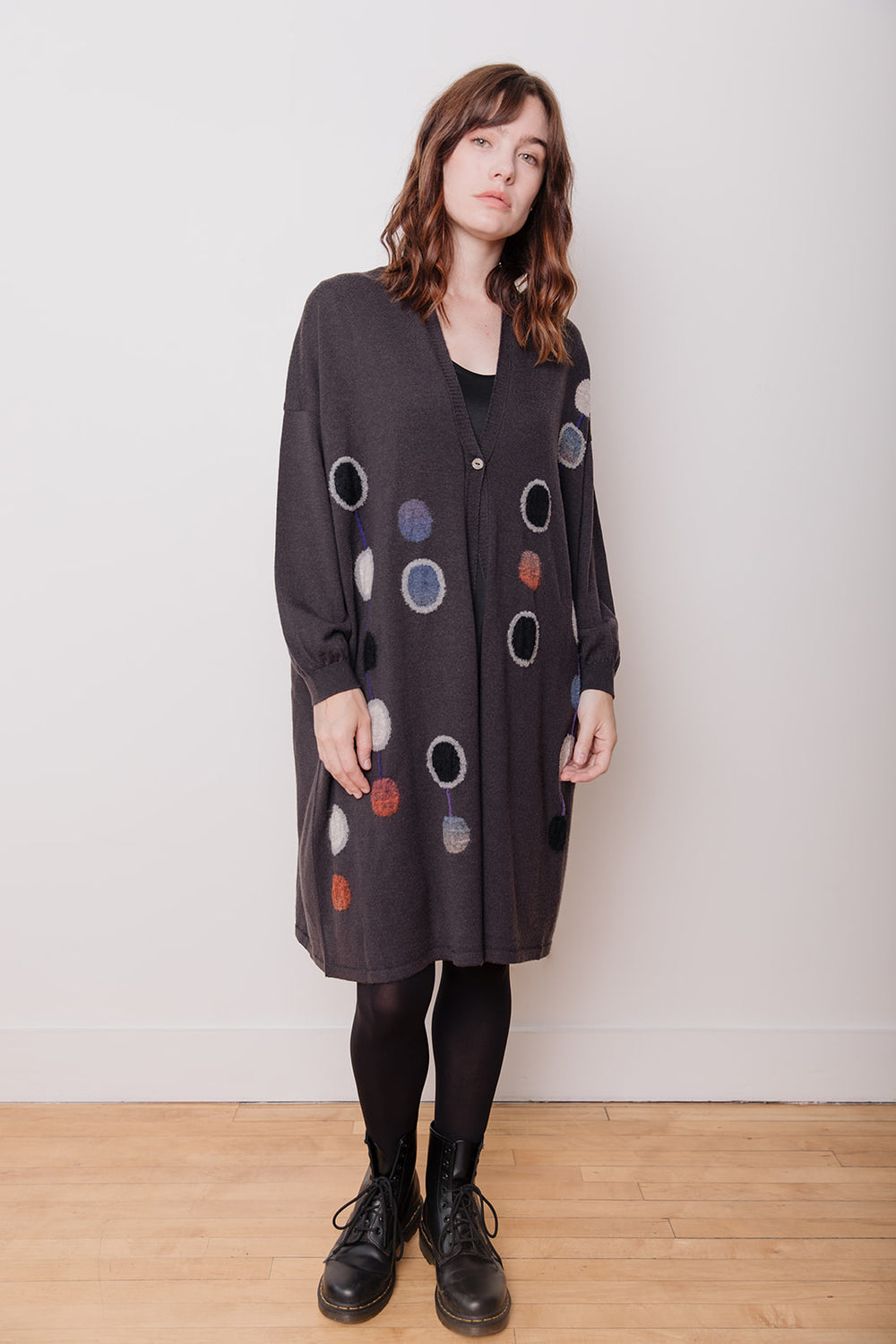 Dot Pattern Long Wool Cardigan, Charcoal