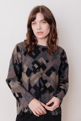 Abstract Pattern Jersey Top