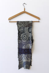 Cotton Knit Patterned Scarf, Blue
