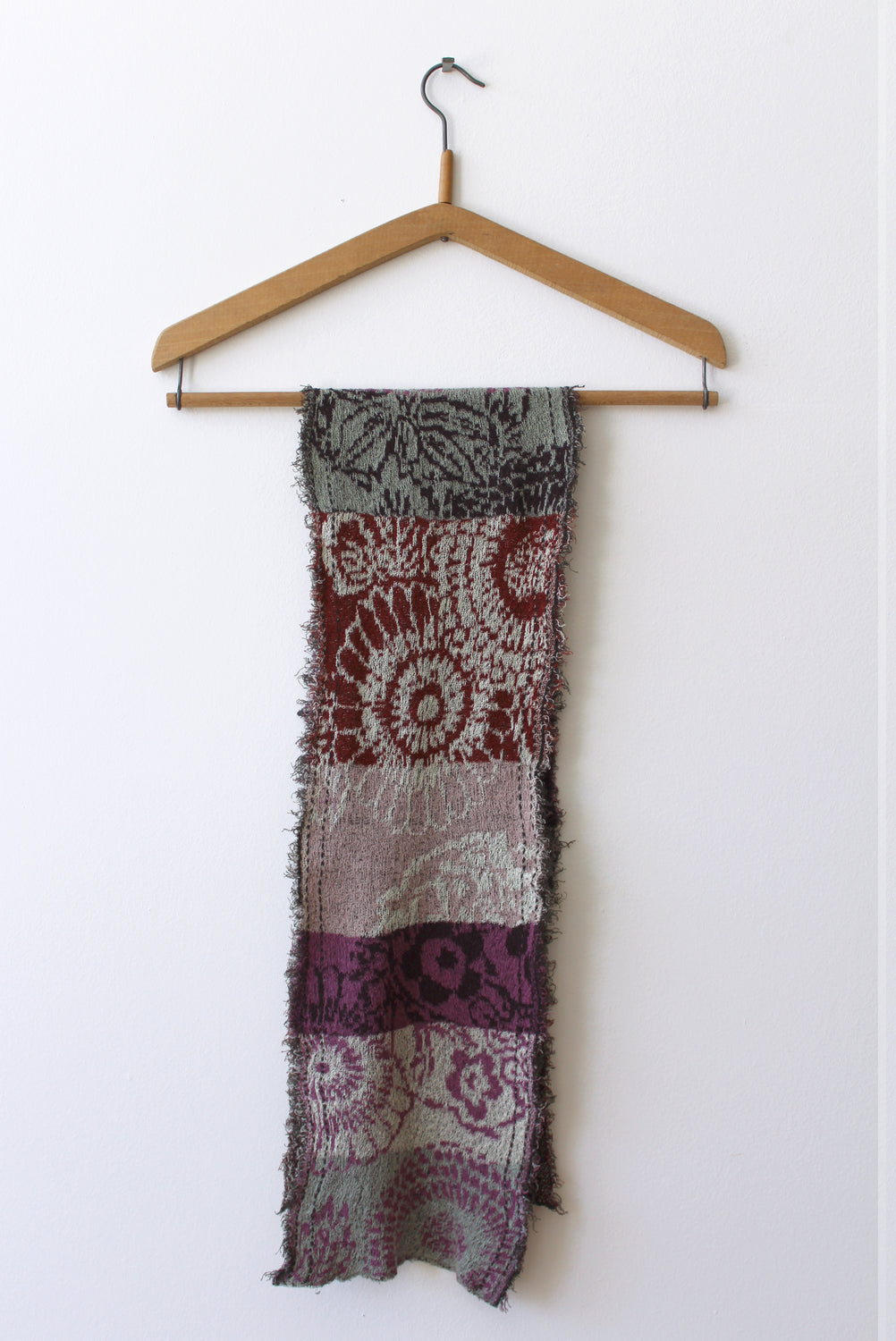 Cotton Knit Patterned Scarf, Wine
