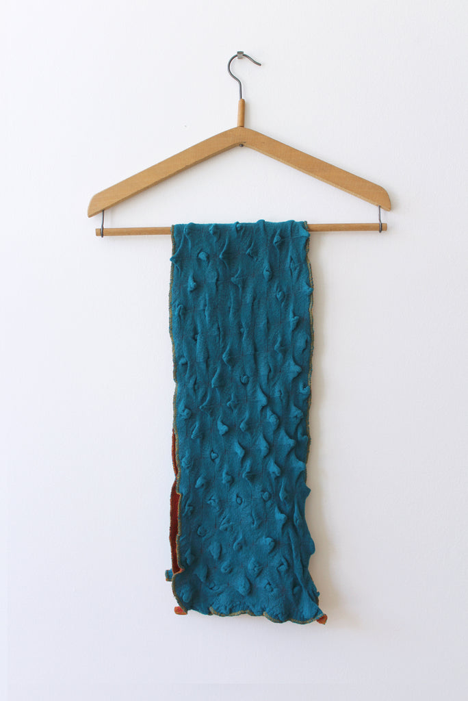 Cotton Knit Textured Scarf, Blue