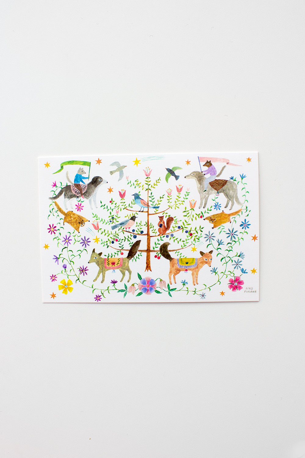 Greeting Card with Tree and Animals
