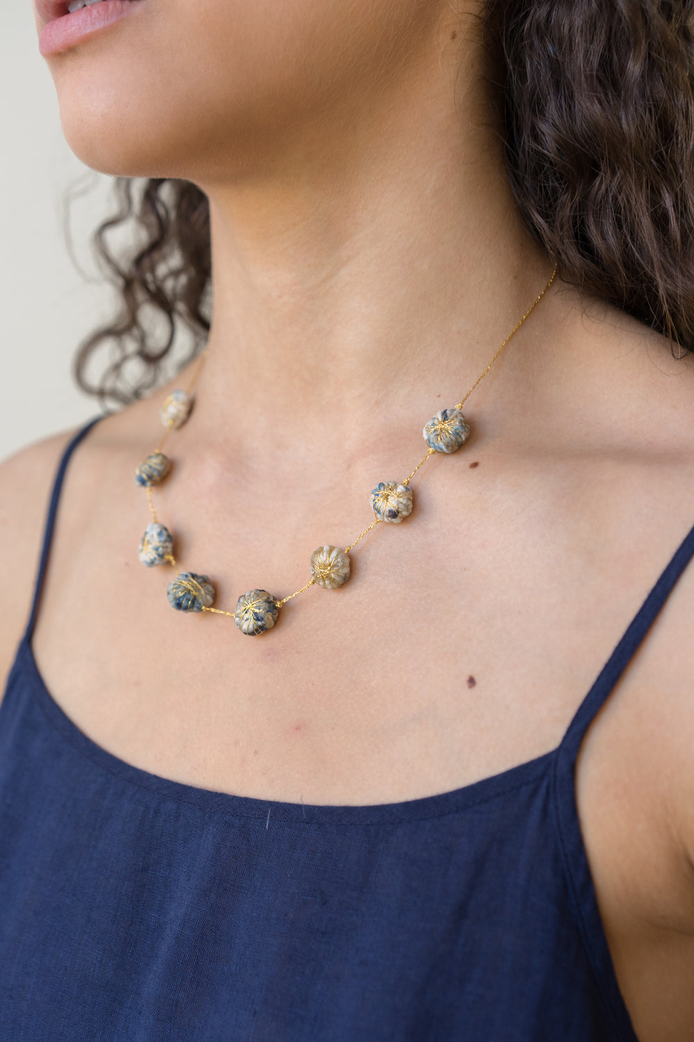 Cotton Daisy Necklace, Light Indigo