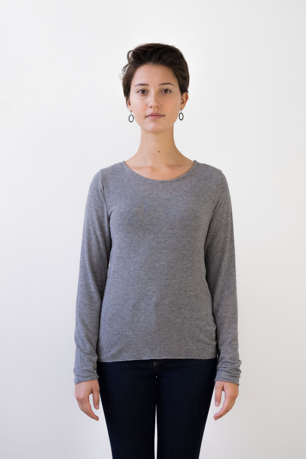 Agnete Long-Sleeved Tee Shirt Grey Melange