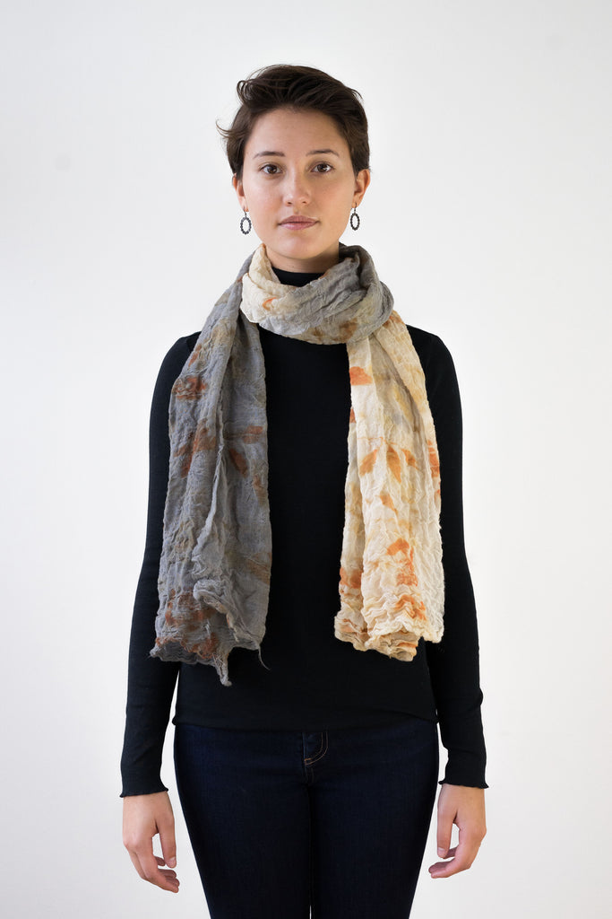 Two-Toned Wool Gauze Scarf, Eucalyptus, Logwood & Rust Dyed