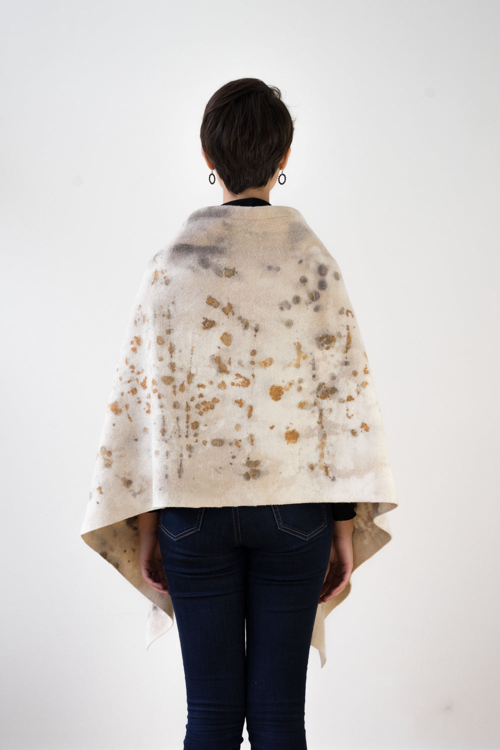 Hand Dyed Military Blanket Cape, Light