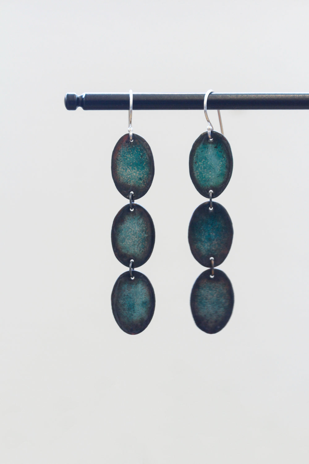 Green Triple Scale Earrings
