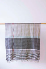 Checked Cotton Slate Scarf