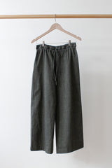 Wide Legged Cotton Pants, Green