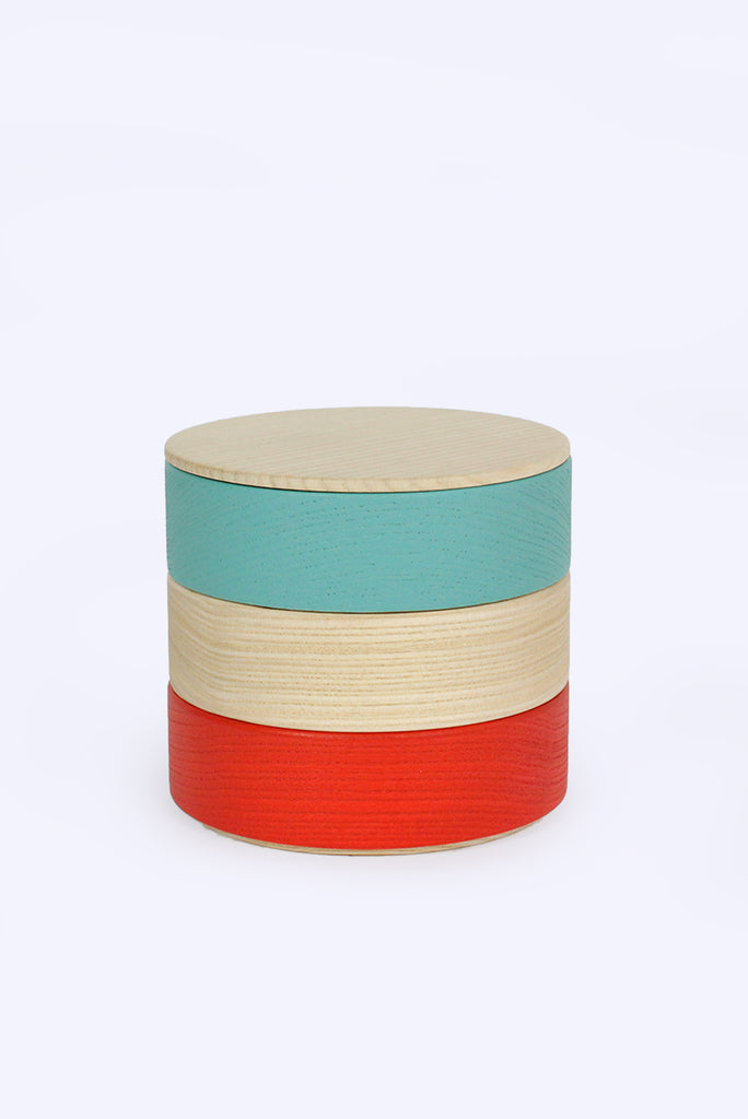 Border 3-Tier Containers, Turquoise