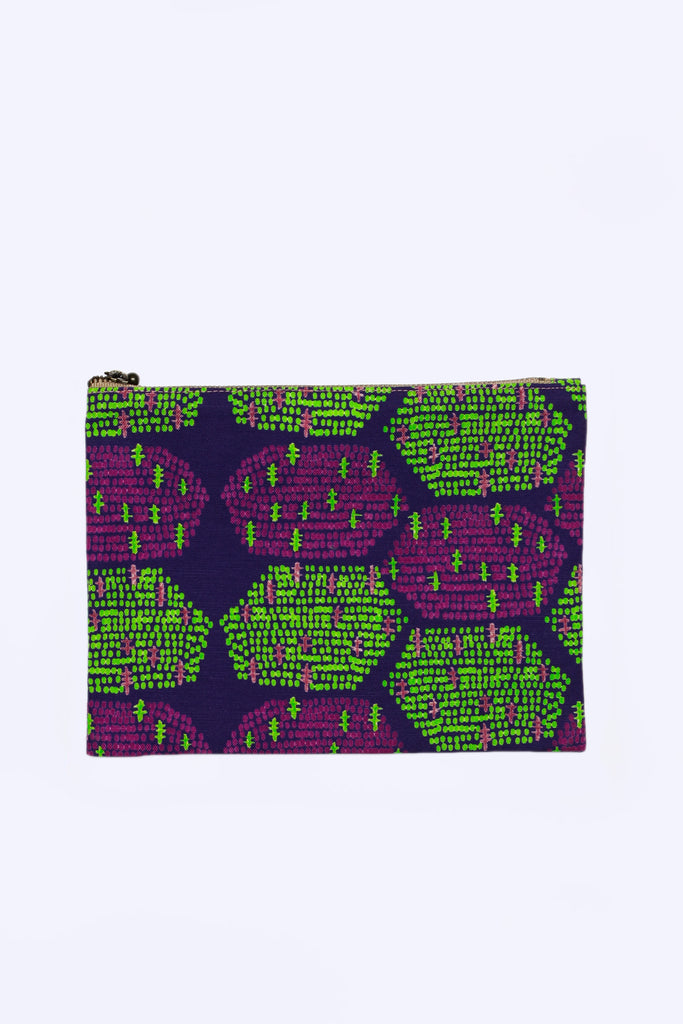 Flat Pouch (Green/Purple Hexagons)
