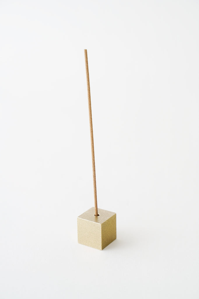 Brass Cube Incense Holder Gold