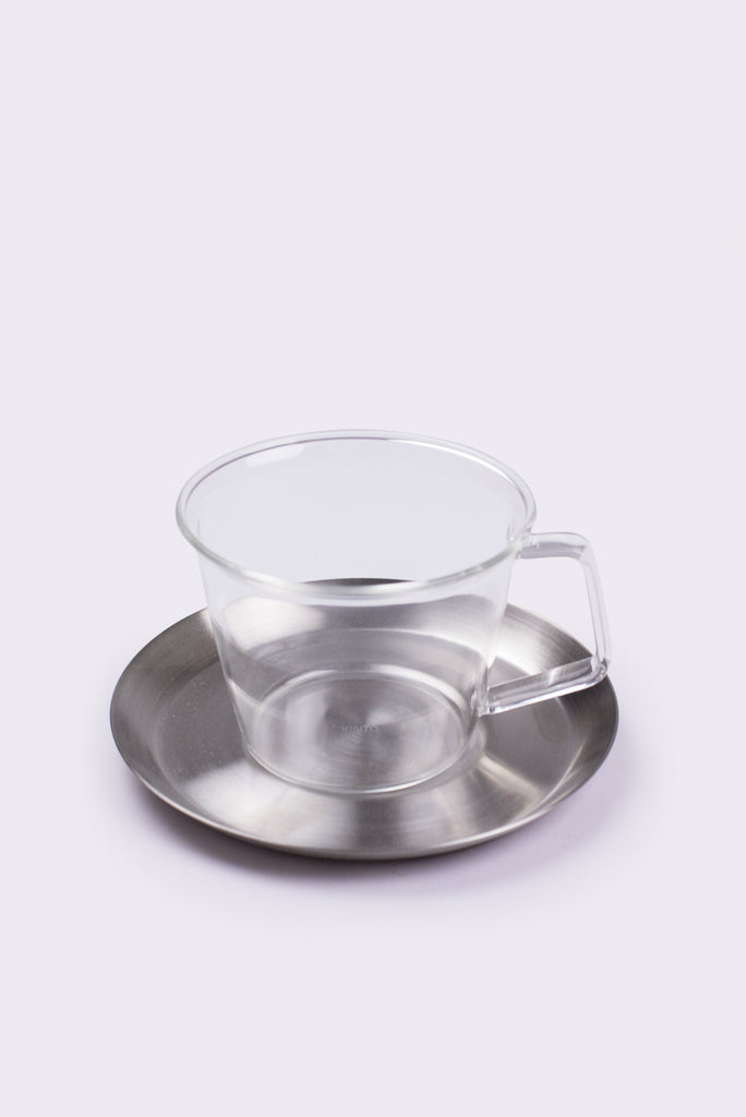 Glass Coffee Cup and Stainless Steel Saucer