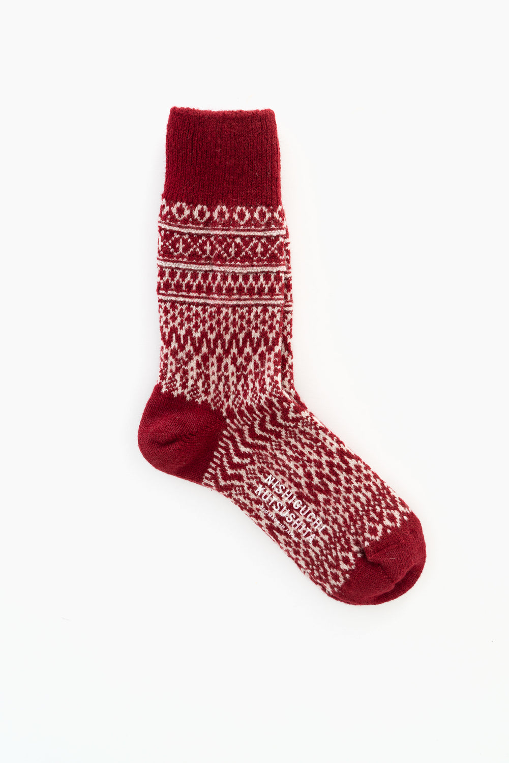 Wool Jacquard Socks, Wine
