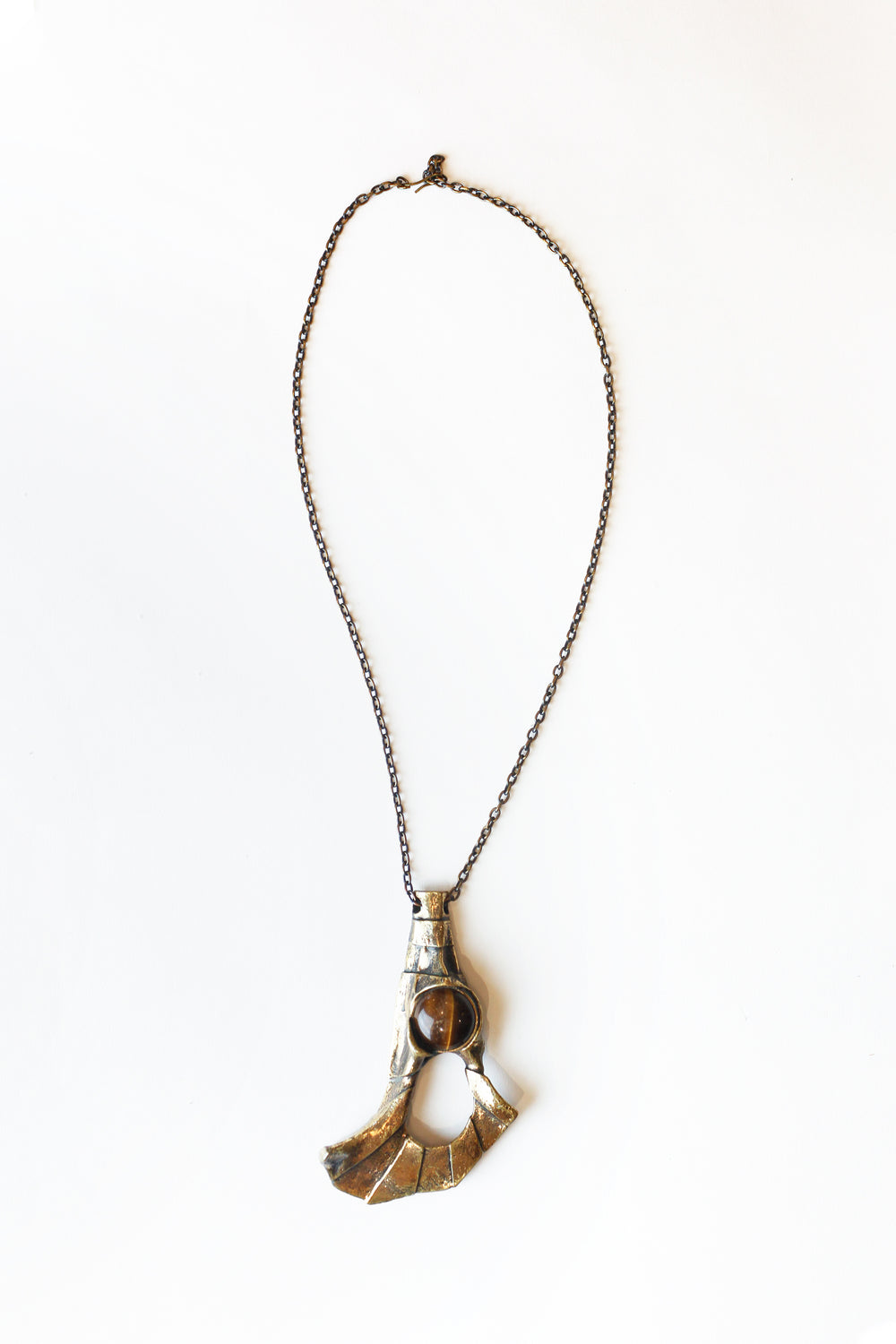 Pentti Sarpaneva Bronze Abstract Necklace with Stone