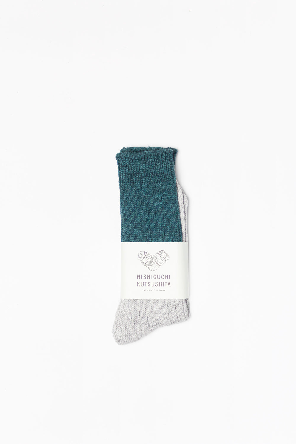 Wool & Cotton Slab Socks, Green