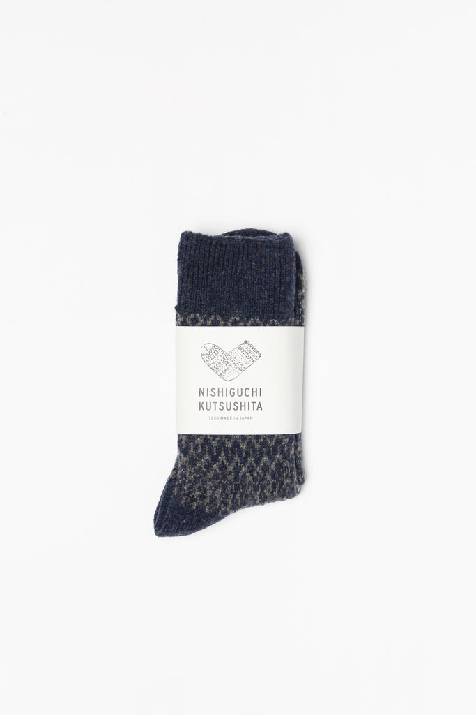 Wool Jacquard Socks, Navy with Grey
