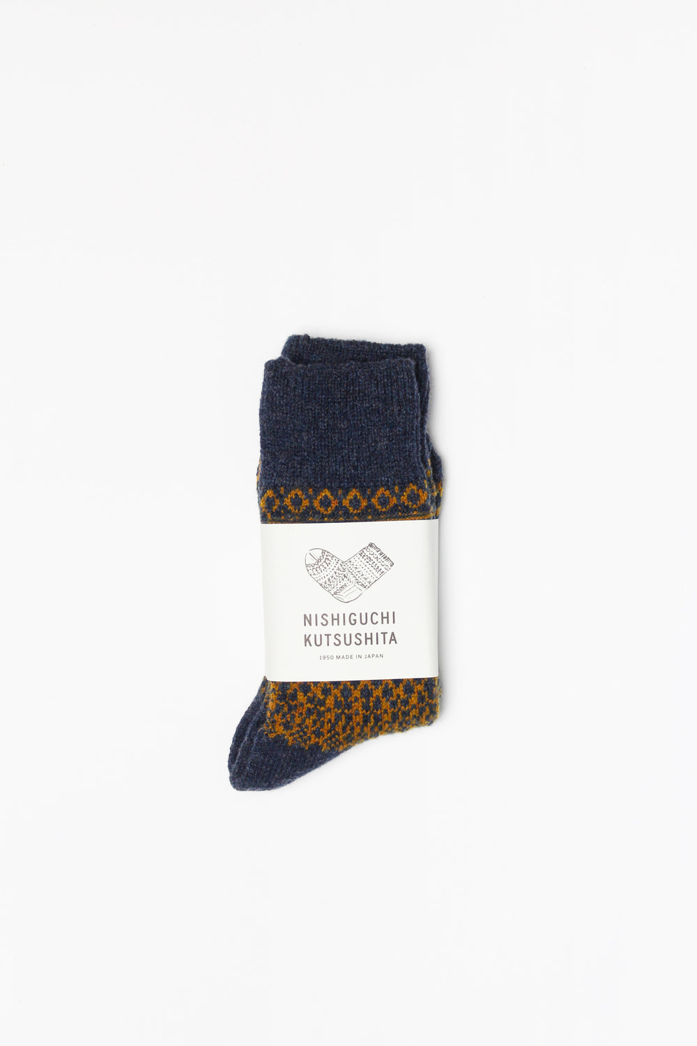 Wool Jacquard Socks, Navy with Mustard (Size Small Only)