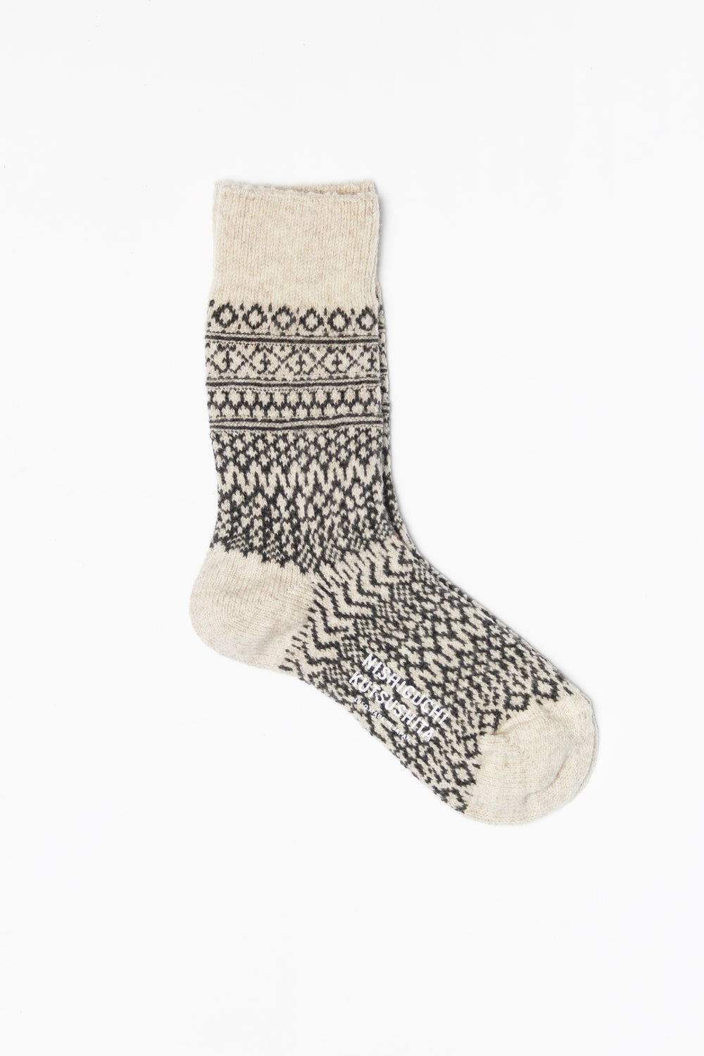 Wool Jacquard Socks, Oatmeal