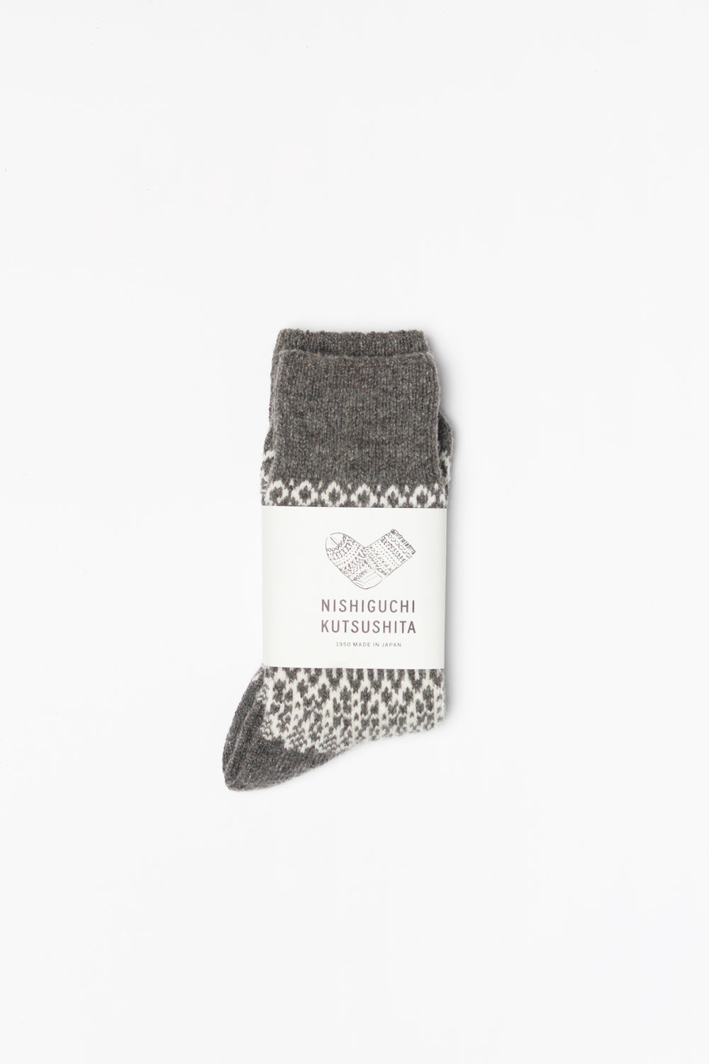 Wool Jacquard Socks, Grey with White (Size Small Only)