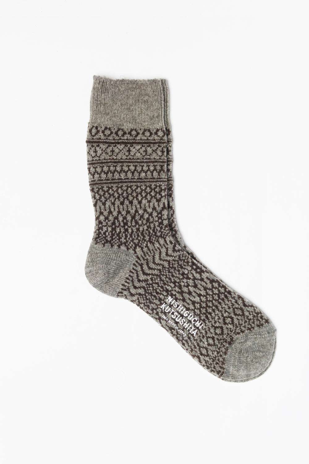 Wool Jacquard Socks, Grey with Brown ( Size M Only )