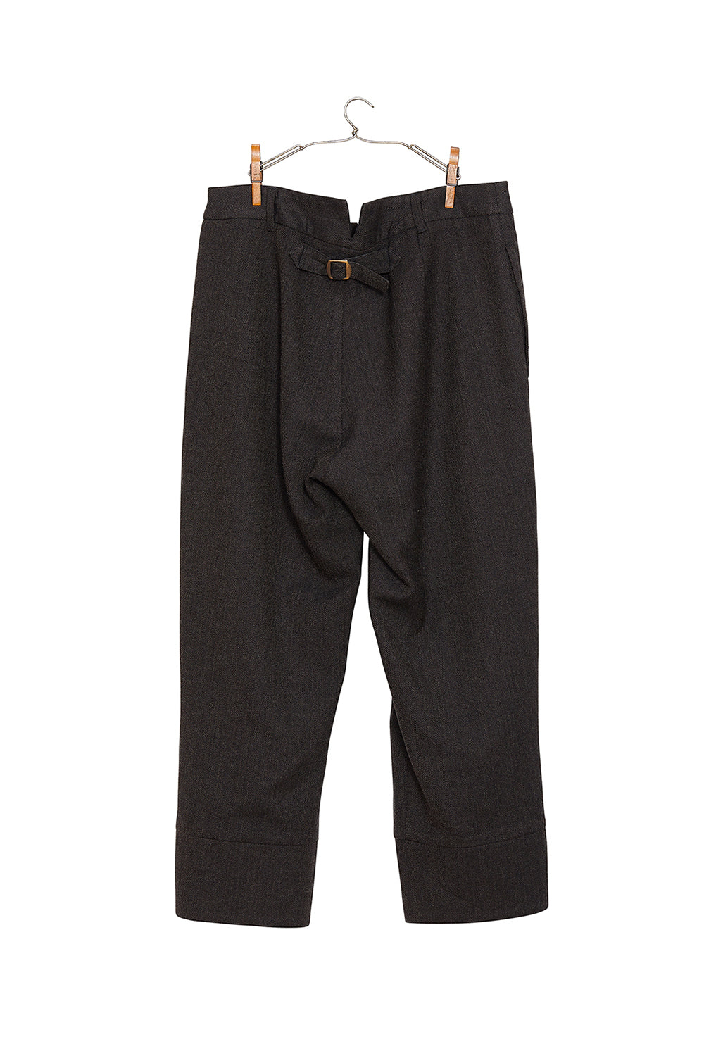 Buckle Back Cropped Herringbone Wool Trousers