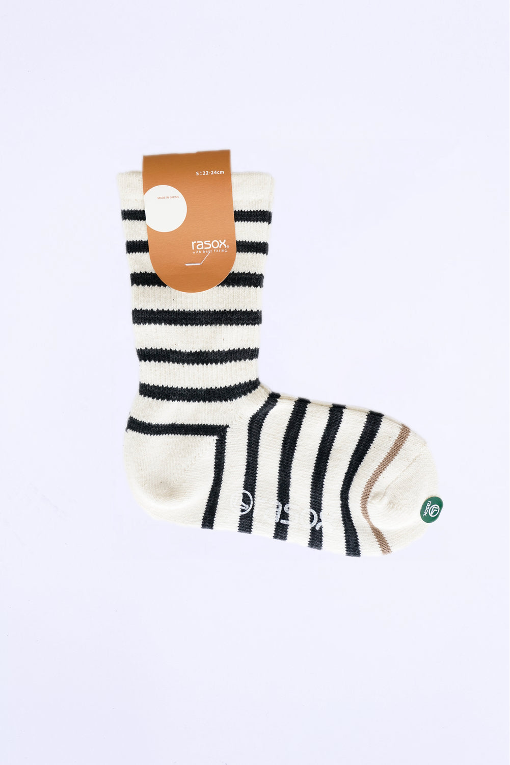 Striped Crew Socks, White with Black