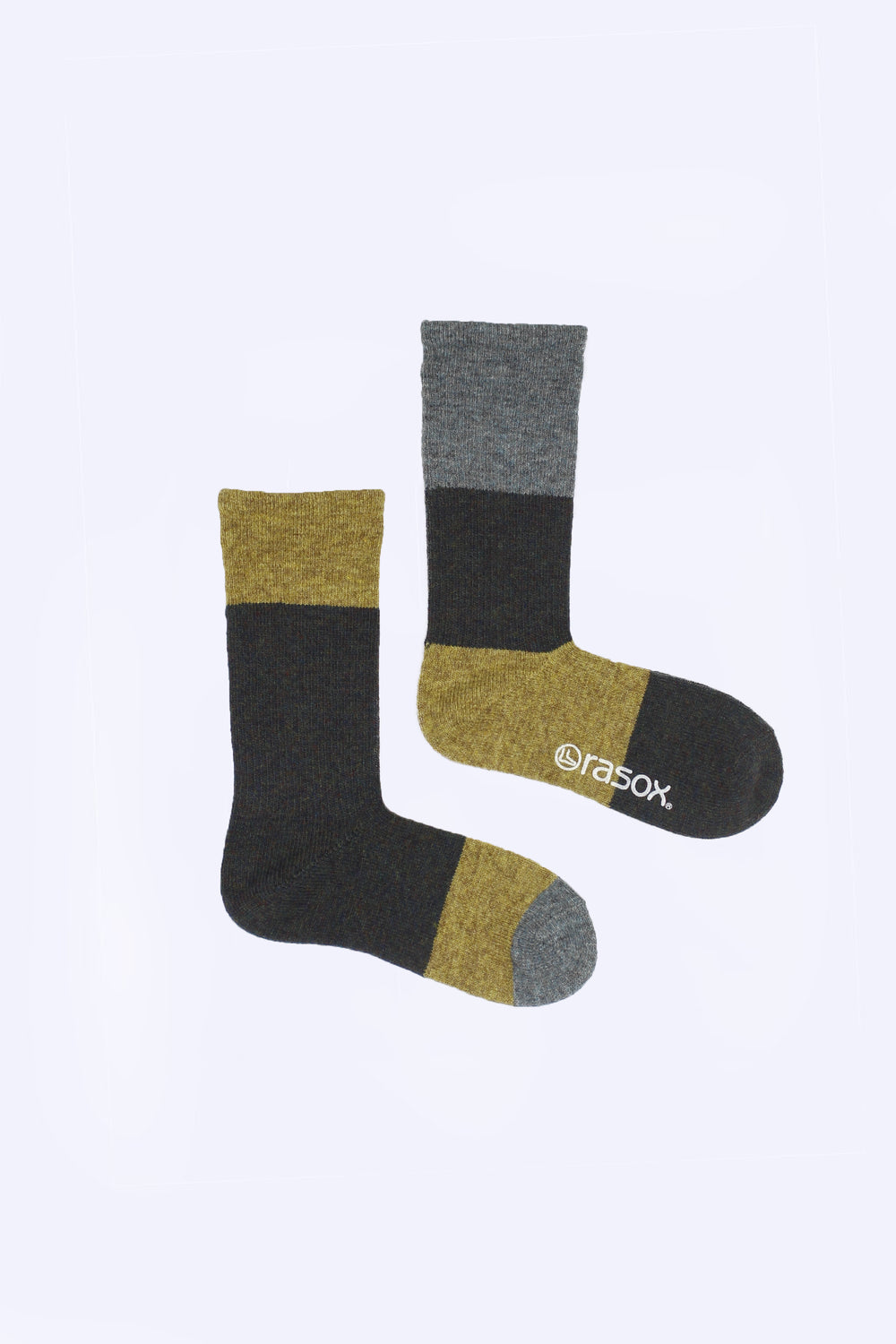 Asymmetrical Wool Blend Socks, Yellow