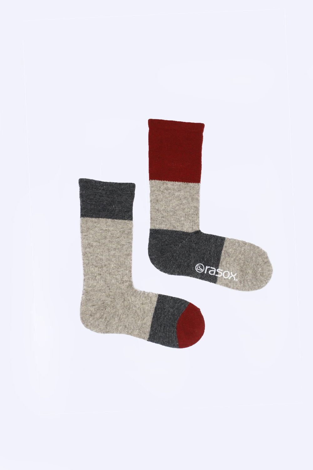 Asymmetrical Wool Blend Socks, Red