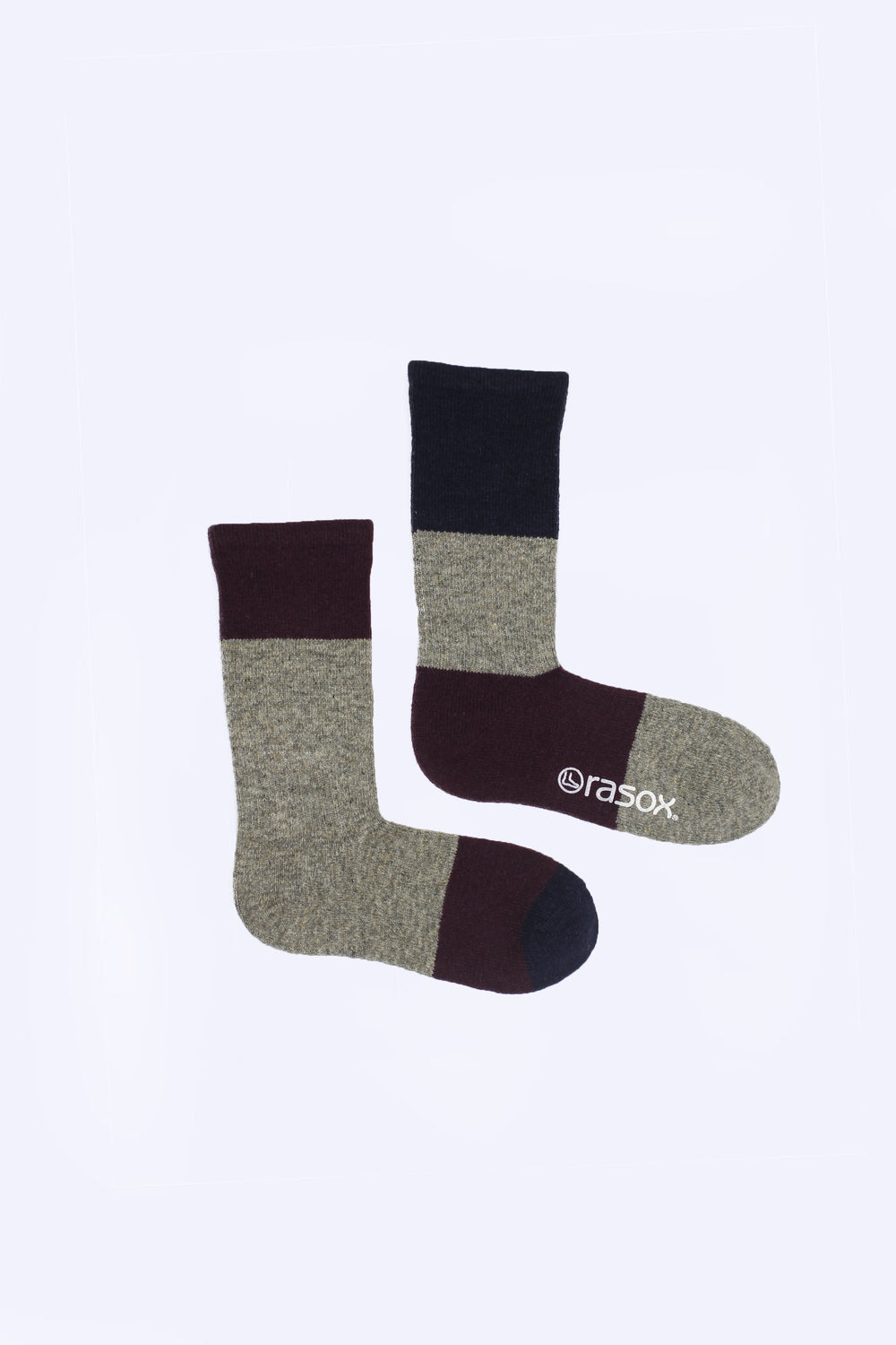 Asymmetrical Wool Blend Socks, Plum