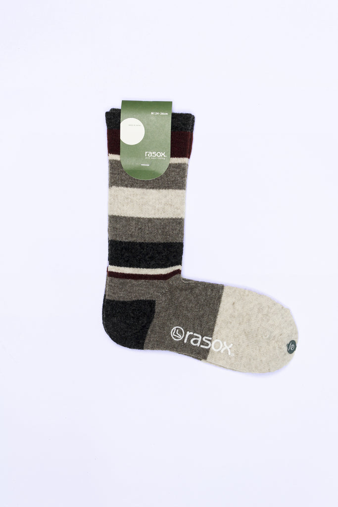 Sriped Wool Blend Socks, Gray