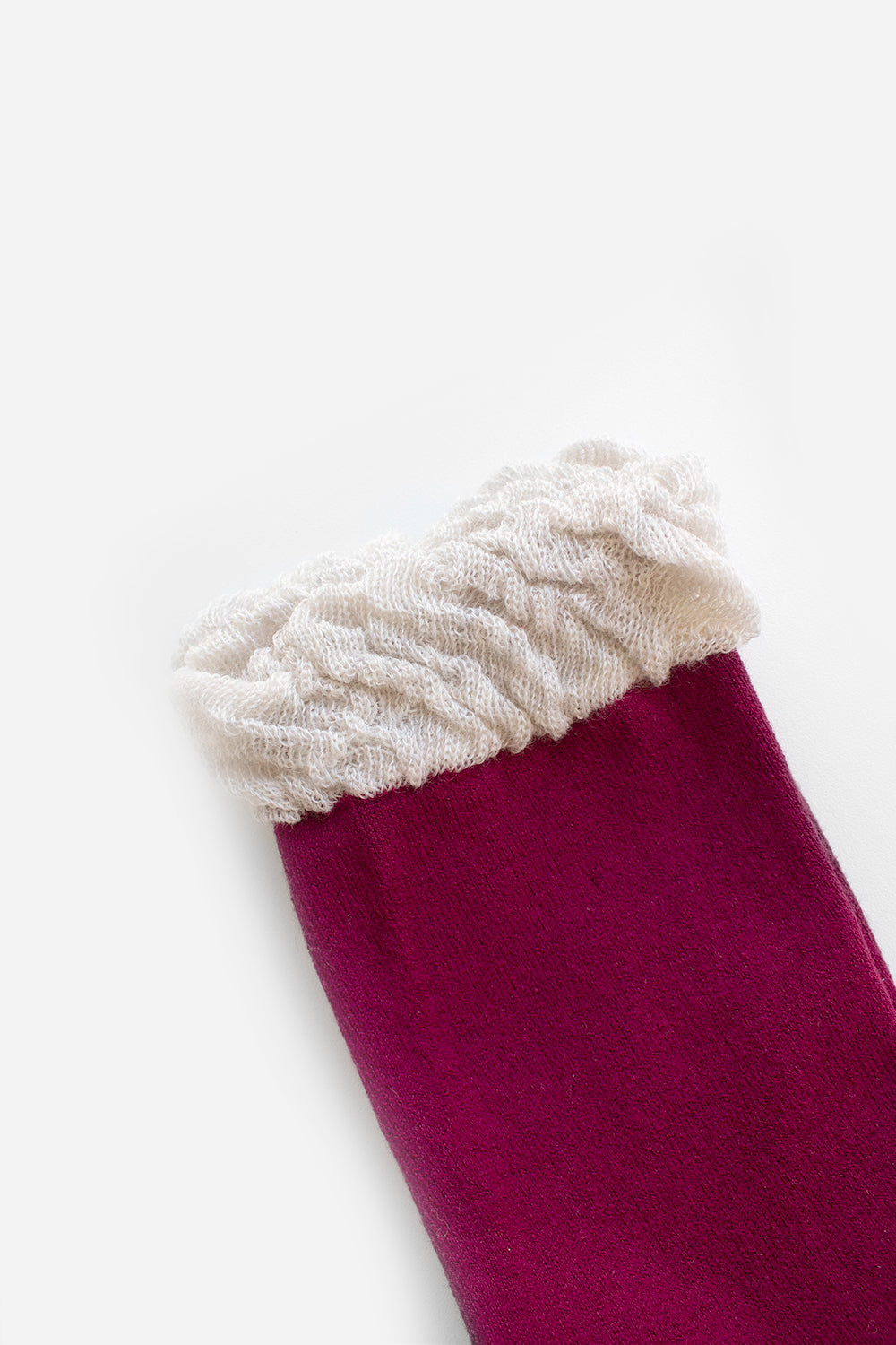 Wool and Cotton Socks with Ruffle, Wine