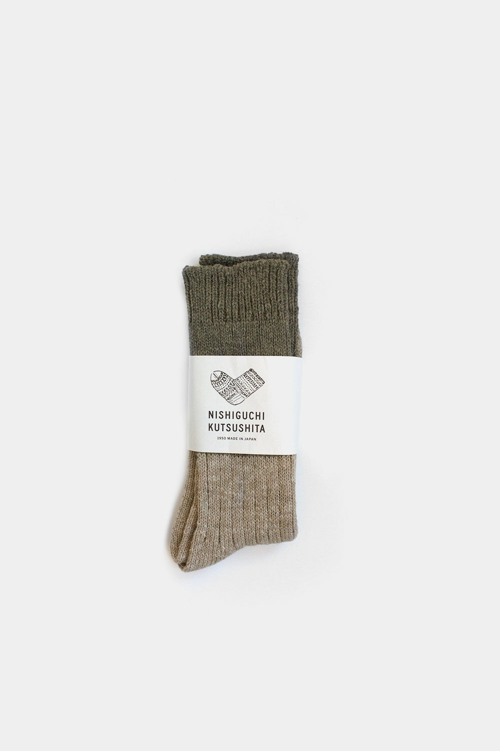 Wool & Cotton Slab Socks, Khaki