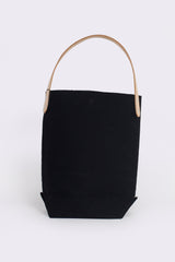 Baguette Tote with Leather Strap, Black