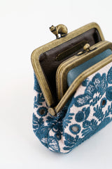 Linen and Embroidery Cuddle Purse Dark Green