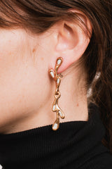Foglie Bronze Earrings with Enamel