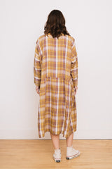 Linen Tartan Check Dress Beige