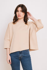 French Terry Cotton Pullover Beige